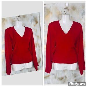 ZARA Red V neck long sleeves heavy women shirt.